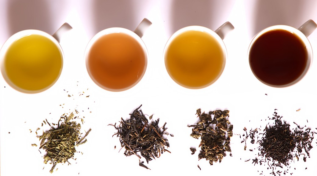 various types of tea shown from above in piles in front of cups of the same tea, brewed